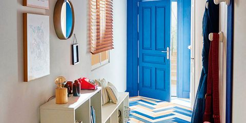 Room, Blue, Property, Furniture, Interior design, Red, Turquoise, Azure, Floor, Wall,