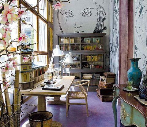 Interior design, Room, Furniture, Table, Shelving, Interior design, Shelf, Porcelain, Pottery, Serveware,