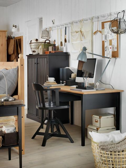 Room, Interior design, Table, Furniture, Computer desk, Display device, Lamp, Office equipment, Interior design, Desk,