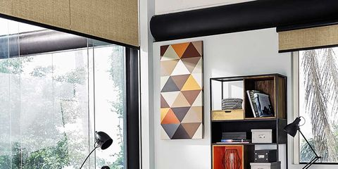 Room, Interior design, Floor, Wall, Shelving, Interior design, Grey, Shelf, Material property, Plywood,