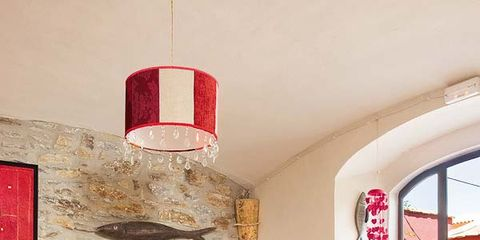 Room, Interior design, Red, Wall, Living room, Floor, Furniture, Flooring, Interior design, Couch,