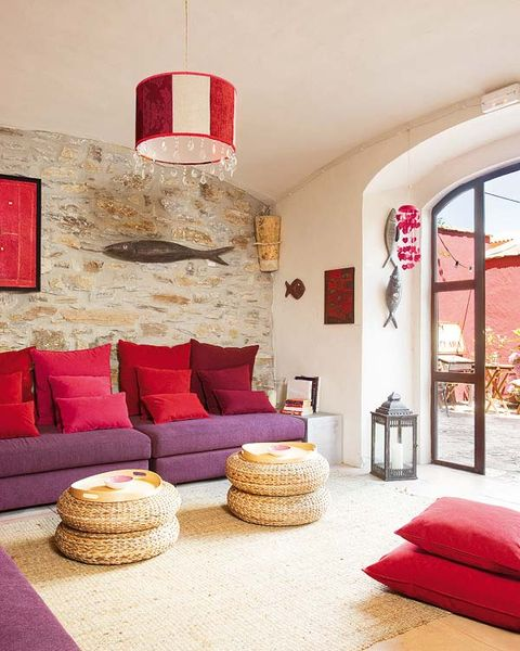 Room, Interior design, Red, Wall, Living room, Floor, Furniture, Flooring, Interior design, Couch,