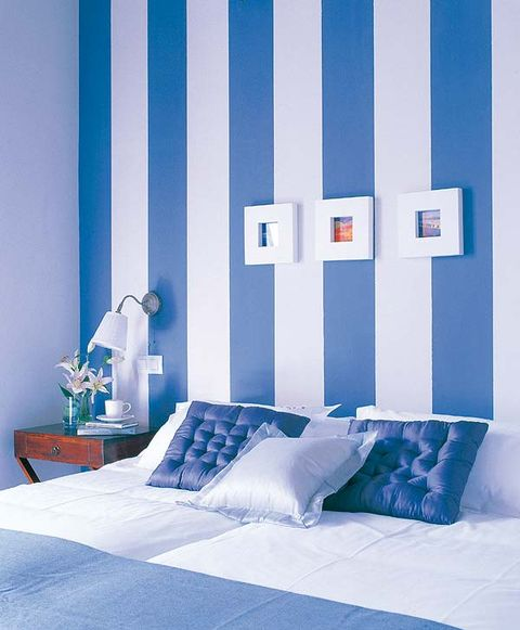 Blue, Room, Interior design, Textile, Wall, Linens, Bedding, Pillow, Bed, Bedroom,