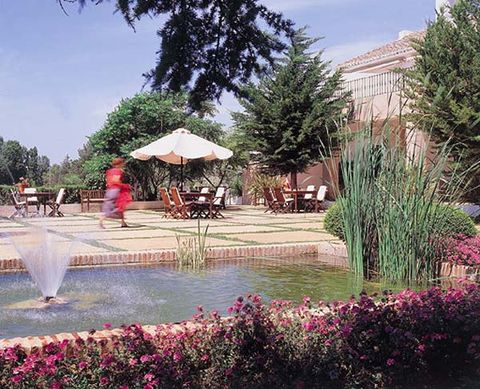 Shrub, Garden, Umbrella, Fountain, Water feature, Groundcover, Resort, Landscaping, Park, Shade,