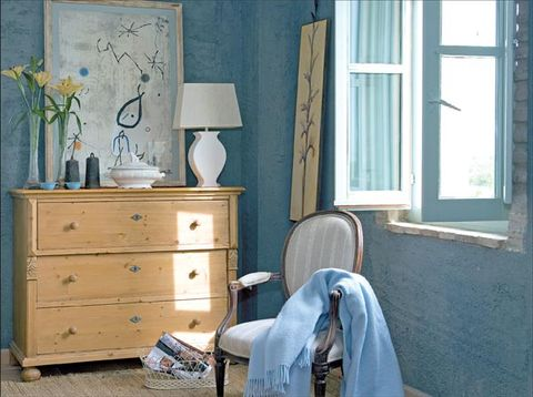 Blue, Wood, Window, Room, Chest of drawers, Drawer, Interior design, Furniture, Cabinetry, Wall,