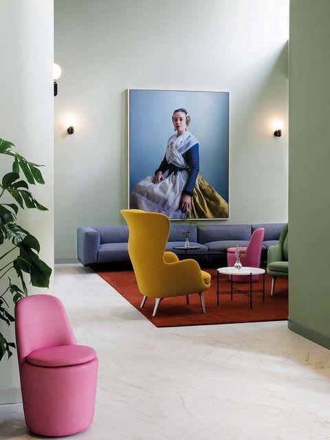 Furniture, Room, Living room, Interior design, Yellow, Floor, Couch, Comfort, studio couch, Flooring,