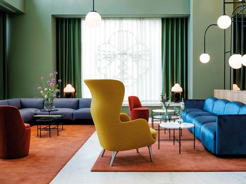 Living room, Furniture, Room, Interior design, Couch, Turquoise, Blue, Coffee table, Floor, Property,