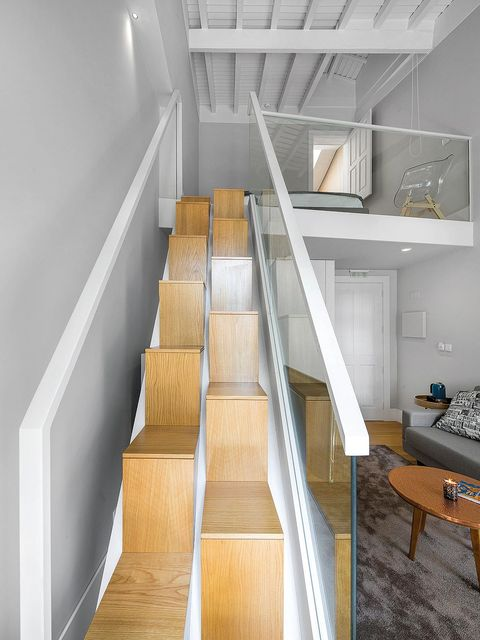 Stairs, Wood, Property, Interior design, Architecture, Wall, Room, Floor, Couch, Real estate,