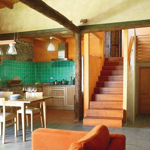 Wood, Interior design, Room, Stairs, Floor, Wall, Ceiling, Furniture, Hardwood, Flooring,
