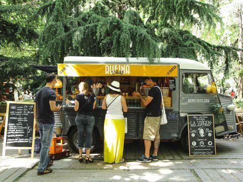 Bus, Sidewalk, Food truck,
