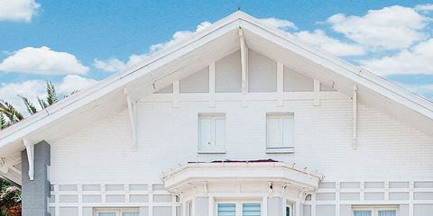 Green, House, Property, Home, Real estate, Facade, White, Residential area, Building, Fixture,