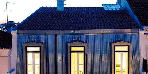 Blue, Facade, House, Home, Real estate, Fixture, Majorelle blue, Electricity, Door, Symmetry,