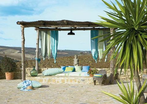Turquoise, Azure, Teal, Aqua, Shade, Flowerpot, Outdoor furniture, Arecales, Perennial plant, Couch,
