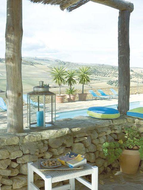 Blue, Azure, Outdoor furniture, Swimming pool, Aqua, Majorelle blue, Flowerpot, Turquoise, Arecales, Shade,