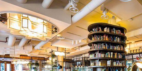 Building, Interior design, Furniture, Architecture, Room, Real estate, Table, Restaurant, Ceiling, House,