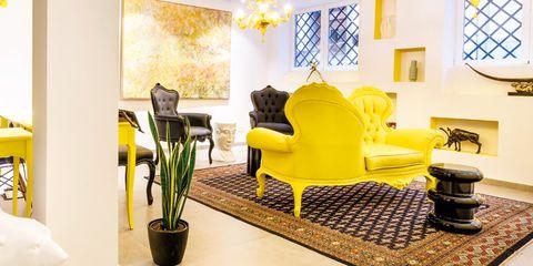 Room, Interior design, Yellow, Property, Furniture, Floor, Blue, Green, Living room, Building,