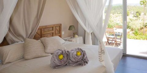 Furniture, Canopy bed, Bed, Room, Bedroom, Property, Interior design, Ceiling, Curtain, Mosquito net,