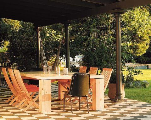 Table, Furniture, Floor, Flooring, Hardwood, Outdoor table, Shade, Chair, Tints and shades, Outdoor furniture,
