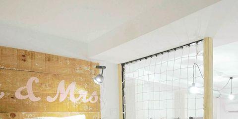 Hat, Room, Interior design, Bed, Property, Textile, Wall, Bedding, Bedroom, Linens,
