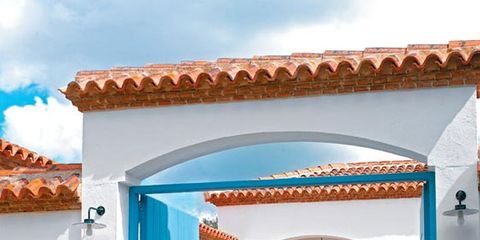 Flowerpot, Real estate, Turquoise, Majorelle blue, Azure, Door, Outdoor furniture, Shade, Teal, Aqua,