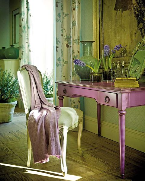 Green, Furniture, Room, Purple, Violet, Table, Pink, Chair, Interior design, House,