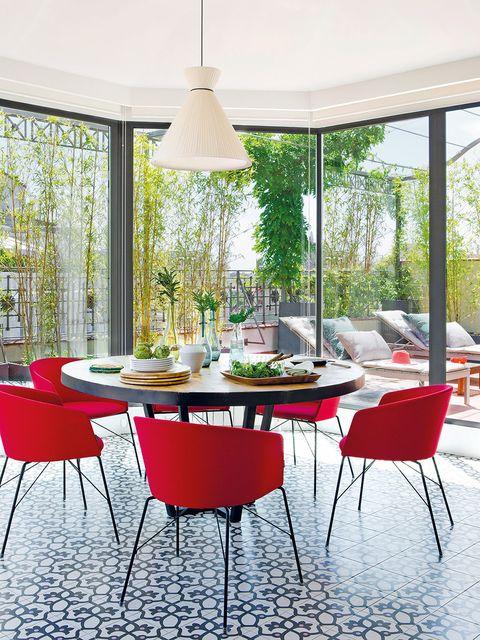Furniture, Room, Interior design, Table, Floor, Chair, Light fixture, Interior design, Glass, Real estate,