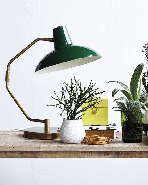lámpara tipo flexo verde de estilo vintaje