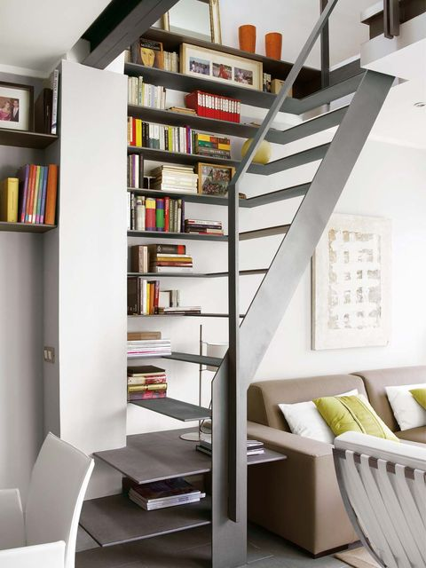 Shelf, Shelving, Stairs, Furniture, Room, Bookcase, Interior design, Building, Property, Living room,