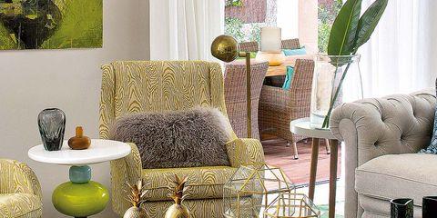 Green, Room, Interior design, Furniture, Table, Living room, Home, Coffee table, Interior design, House,