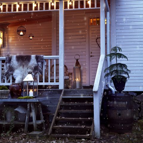 Lighting, Stairs, Real estate, Flowerpot, House, Home, Wood stain, Porch, Handrail, Houseplant,