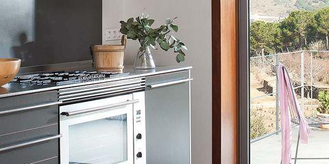 Floor, Flooring, Interior design, Room, Glass, Major appliance, Fixture, Countertop, Grey, Kitchen appliance,