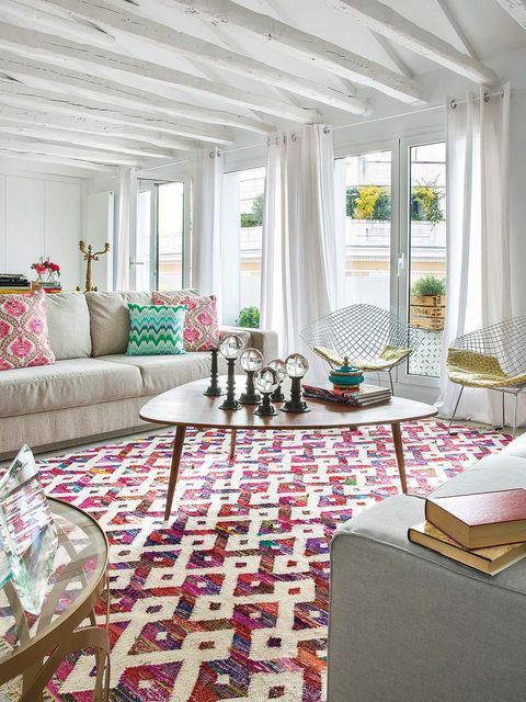 Interior design, Room, Floor, Textile, Living room, Flooring, Couch, Table, Ceiling, Home,
