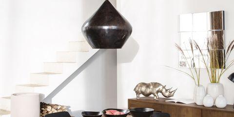 Room, Floor, Table, Flowerpot, Furniture, Interior design, Coffee table, Cone, Grey, Interior design,