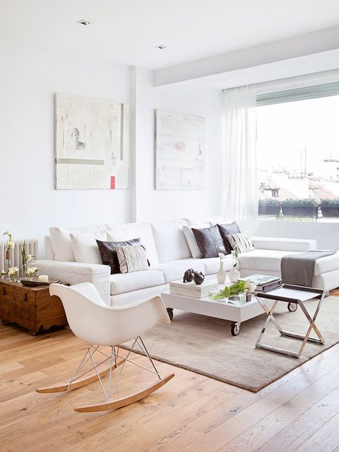 Living room, Furniture, White, Room, Interior design, Coffee table, Floor, Property, Table, Home,