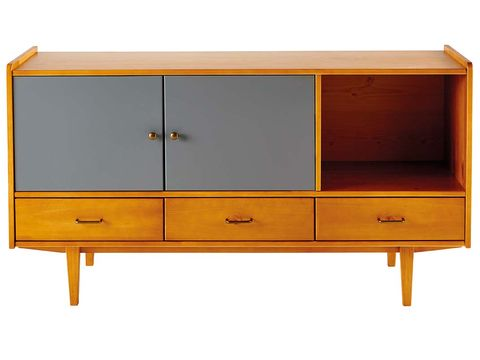 Furniture, Sideboard, Orange, Yellow, Chest of drawers, Shelf, Drawer, Cupboard, Wall, Table,