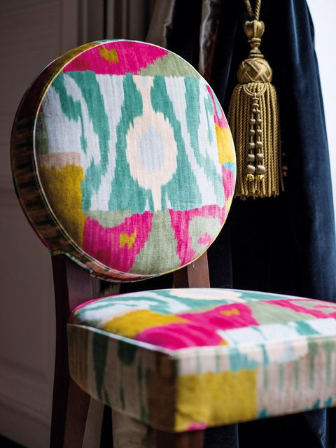 Pink, Chair, Furniture, Magenta, Patchwork, Yellow, Textile, Turquoise, Room, Lampshade,