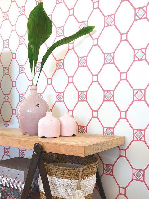 Room, Pattern, Wall, Interior design, Peach, Twig, Interior design, Home accessories, Linens, Porcelain,