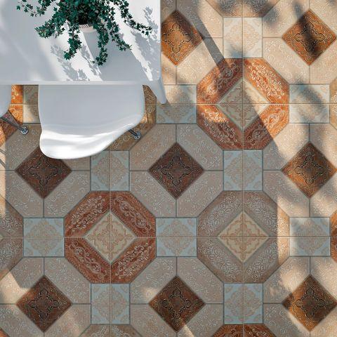 Brown, Pattern, Wall, Tile, Flooring, Floor, Beige, Tile flooring, Symmetry, Peach,