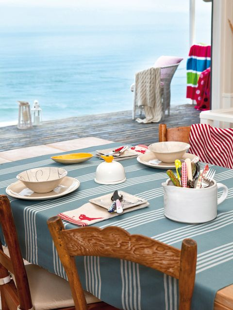 Furniture, Table, Textile, Dishware, Linens, Tablecloth, Serveware, Ocean, Home accessories, Turquoise,