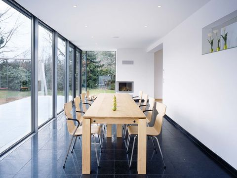 Floor, Architecture, Wood, Flooring, Property, Interior design, Room, Glass, Table, Wall,