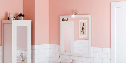 Bathroom, Bathroom cabinet, Room, Furniture, Drawer, Bathroom accessory, Pink, Sink, Chest of drawers, Material property,
