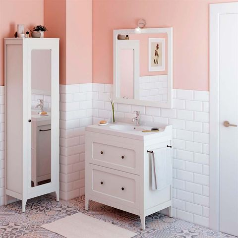 Bathroom, Bathroom cabinet, Furniture, Room, Pink, Drawer, Sink, Bathroom accessory, Chest of drawers, Material property,