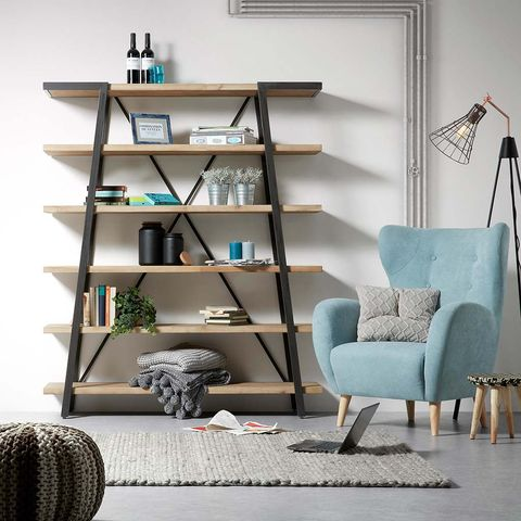 Shelf, Shelving, Furniture, Room, Living room, Bookcase, Interior design, Turquoise, Wall, Home,