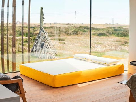 Yellow, Furniture, Room, Bed, Bed frame, Bedroom, Interior design, House,