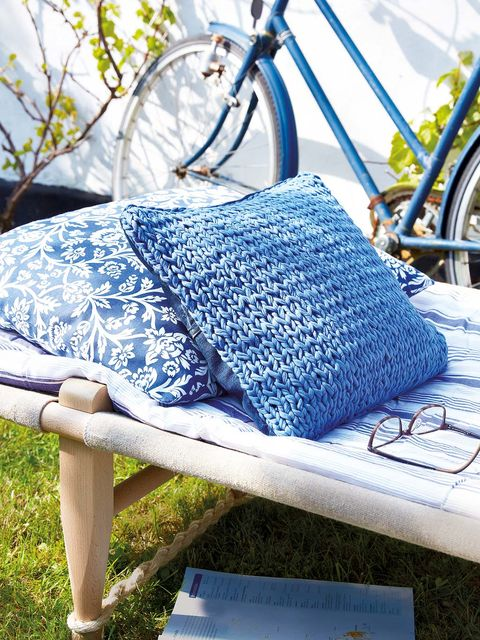 Blue, Furniture, Textile, Cobalt blue, Crochet, Azure, Linens, Pattern, Quilt, Design,