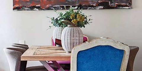 Textile, Room, Furniture, Interior design, Purple, Magenta, Picture frame, Interior design, Flowerpot, Paint,