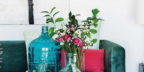 Blue, Room, Flower, Teal, Interior design, Turquoise, Bottle, Interior design, Vase, Artifact,