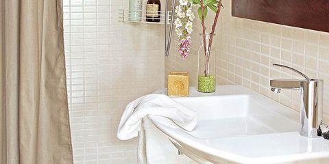 Plumbing fixture, Property, Tap, Room, Interior design, Sink, Tile, Bathroom sink, Bathroom accessory, Plumbing,