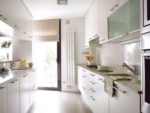 Green, Room, Interior design, Floor, Property, Drawer, Flooring, White, Home, Kitchen appliance,