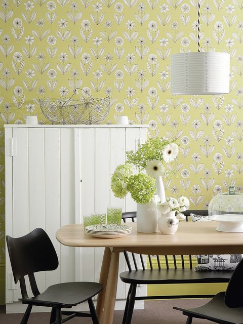 Green, Wallpaper, Room, Wall, Yellow, Interior design, Furniture, Table, Dining room, Design,